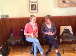 Doreen and Susie talking at the Town Hall